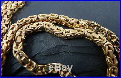 Vintage 9ct Gold Byzantine Chain Necklace 24 inch Hallmarked London 1977 33g