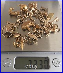 Vintage 9ct Gold Charm Bracelet with Heart Shaped Padlock Fully Hallmarked 32.30g