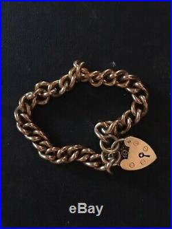 Vintage 9ct Gold Charm Bracelet with Lock & Safety Chain. Solid Links