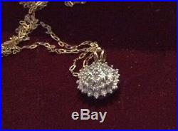Vintage 9ct Gold Diamond Pendant 0.50ct Daisy Cluster Necklace Chain