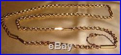 Vintage 9ct Gold Fancy Belcher Link Chain Necklace Barrel Clasp 20 12g