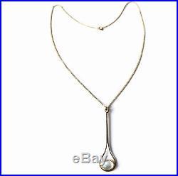 Vintage 9ct Gold Long Moonstone Cabochon Pendant & 16 Chain Necklace