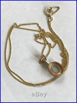 Vintage 9ct Gold Opal Cabochon Pendant Chain Necklace