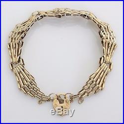 Vintage 9ct Gold Padlock Heart Gate Link Bracelet Hallmarked London 1989
