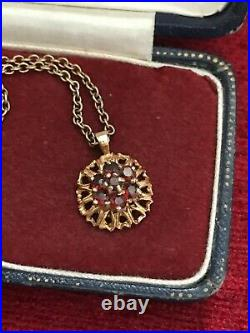 Vintage 9ct Gold & Red Garnet Pendant Necklace 14 36cm Chain 4.73g (D9K5)