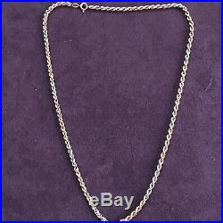 Vintage 9ct Gold Rope Chain Necklace 4.35g Twist Tricoloured