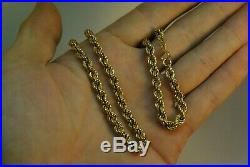 Vintage 9ct Gold Rope Twist Necklace. 6mm Gold Chain. Fully hallmarked. 10.2grams