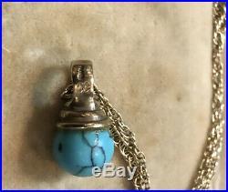 Vintage 9ct Gold Turquoise Pendant Chain Necklace