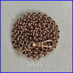 Vintage 9ct Rose Gold Belcher Chain 20 Necklace 11.3g Albert Dog Clip Clasp