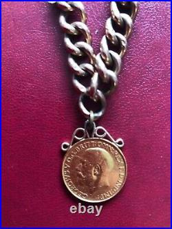 Vintage 9ct Rose Gold Charm Bracelet + hanging 22ct full sovereign coin