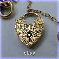 Vintage 9ct Rose Gold Curb Link 7.25 Bracelet with hand-engraved Heart Padlock