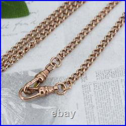 Vintage 9ct Rose Gold Curb Link Albert Chain with T-Bar and Double Dog Clip 1994