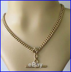 Vintage 9ct Rose Gold Hollow T Bar Double Albert Curb Chain (20.9g)