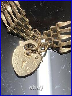 Vintage 9ct Solid Gold 5 Bar Gate Bracelet With Heart Padlock And Safety Chain
