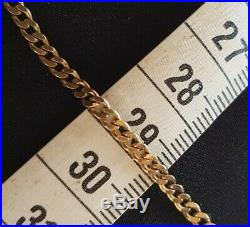 Vintage 9ct Yellow Gold Curb 3mm Link Chain Necklace Repair or Scrap 7.8 grams