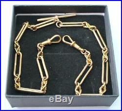 Vintage 9ct Yellow Gold Trombone Link Double Albert Chain