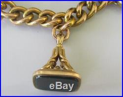 Vintage 9ct gold multi carnelian fob/charm (61.5g) bracelet & safety chain