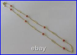 Vintage 9ct yellow gold coral chain link necklace (3.5g)