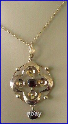 Vintage 9ct yellow gold garnet open pendant & 9ct yellow gold chain
