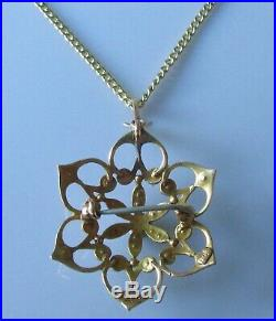 Vintage 9ct yellow gold multi seed pearl pendant & 9ct yellow gold chain