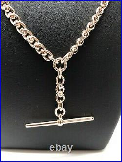 Vintage Albert Chain & T Bar Unusual Style 9ct Rose Gold 15 Long 26.00g