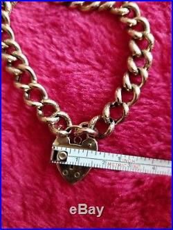 Vintage Antique 9ct Gold Curb Bracelet With Strong Heart Lock. 7-3/4