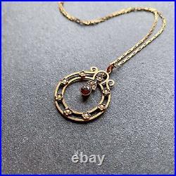 Vintage Antique 9ct Gold Garnet And Pearl Art Nouveau Pendant Necklace and chain