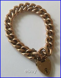 Vintage Antique 9ct Rose Gold Heavyweight Edwardian Curb Bracelet w Padlock
