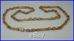 Vintage English 9ct 9k Solid Rose Gold Albert Watch Chain Necklace 20,32g