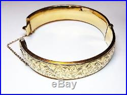 Vintage Engraved Bangle solid 9ct gold Ladies Bracelet safety chain hallmarked