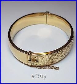 Vintage Engraved Bangle solid 9ct gold Ladies Bracelet safety chain hallmarked