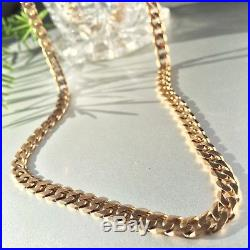 Vintage Heavy 9ct Solid Rose Gold CURB LINK Chain Necklace 23.5 grams 20 (51cm)