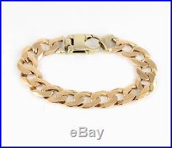 Vintage Heavy Men's Gents Solid 9Ct Gold Flat Curb Link Chain Bracelet, 42g