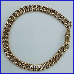 Vintage Heavy Solid 9ct 375 Old Yellow Gold 6mm Link 8 Bracelet L243