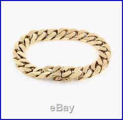 Vintage Men's Gents Heavy Solid 9Ct Gold Flat Curb Link Bracelet 69.9g