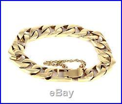 Vintage Men's Gents Heavy Solid 9Ct Gold Flat Curb Link Chain Bracelet, 55.3g