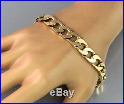 Vintage Men's Gents Solid 9Ct Gold Flat Curb Link Chain Bracelet 31.2g