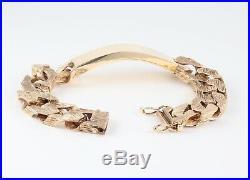 Vintage Men's Gents Solid 9Ct Gold Flat Curb Link Chain Identity Bracelet 100g