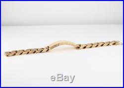 Vintage Men's Gents Solid 9Ct Gold Flat Curb Link Chain Identity Bracelet, 103g