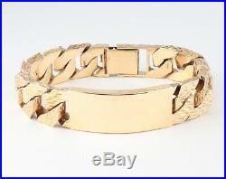 Vintage Men's Gents Solid 9Ct Gold Flat Curb Link Chain Identity Bracelet 88.7g
