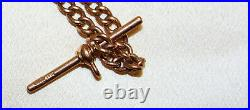 Vintage Rose Gold 9ct Fob chain with Clip & Separate Bar Signed RR Exc Con 920