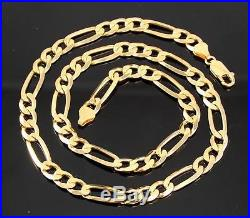 Vintage Solid 9Ct Gold Figaro Flat Link Chain Necklace 28.1g