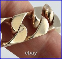 Vintage Solid 9Ct Gold Flat Curb Link Bracelet 48.3grams