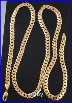 Vintage Solid 9Ct Gold Flat Curb Link Chain Necklace 30 inches, 59g