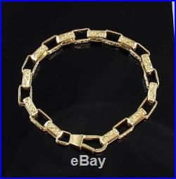 Vintage Solid 9Ct Gold Ornate Box Link Chain Bracelet 22.3g