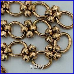 Vintage Solid 9ct Gold Large Oval Hoop and Rollerball Chain Link Bracelet #539