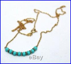 Vintage turquoise bead & 9 ct gold chain necklace 1930s style 41 cm 16 inch
