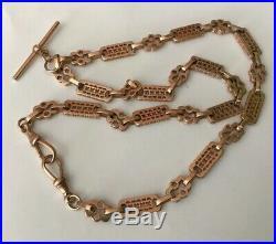Vtg 20 Hallmarked 9ct 9k Red Rose Gold Stars & Bars Fancy Chain Necklace 38.4g