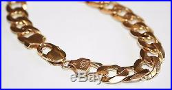 Wonderful Heavy Gents 9ct Gold Solid Curb Link Bracelet 9 inches long