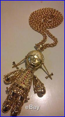 Large 9ct gold on 925 sterling silver articulated movable ragdoll x large 9ct gold on 925 sterling silver articulated movable ragdoll necklace mozeypictures Images